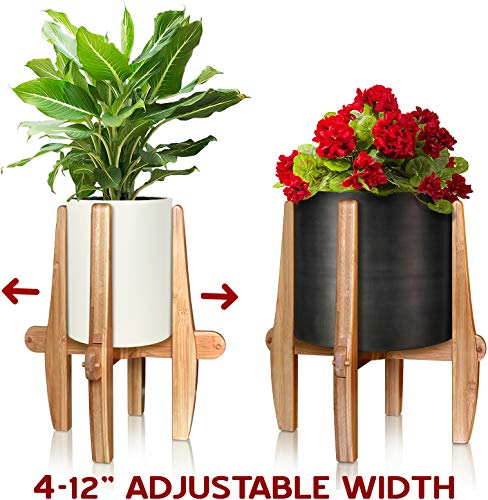 Mid Century Modern Plant Stand - Unique Indoor/Outdoor Mid Century Plant Stand, 4 to 12 Inch Adjustable Natural Bamboo Plant Holder - (Planters and Plants NOT Included)
