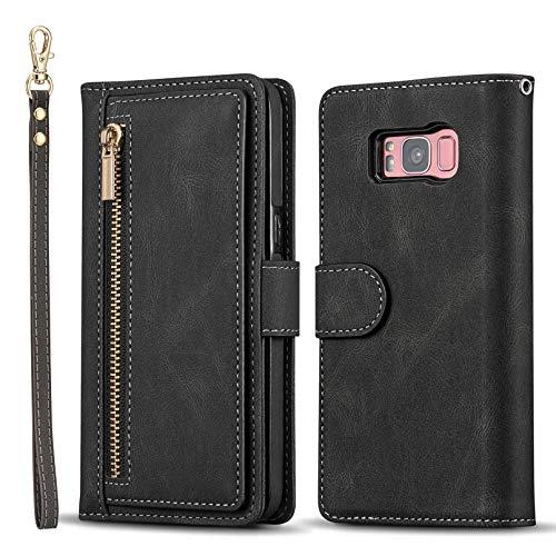 QLTYPRI Funda para Samsung Galaxy S8 de gran capacidad de piel tipo cartera con tarjetero y bolsillo con cremallera, función atril, correa de muñeca magnética para Samsung Galaxy S8, color negro