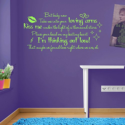 Thinking Out Loud Ed Sheeran Paroles de la Chanson de Citation Autocollant Mural en Vinyle Ed Sheeran Thinking Out Loud Mural Paroles Salle de fenêtre, Vinyle, 10 - Lime Green, Taille L