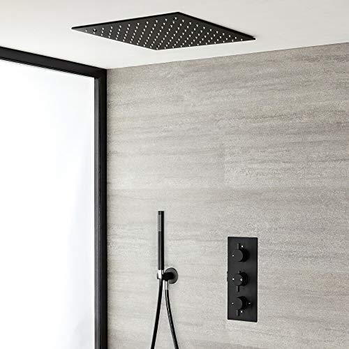 Hudson Reed Nox - Doucheset 2-weg Inbouw Thermostatisch Incl. Inbouw Plafond Douchekop 40x40cm En Handdouche Mat Zwart