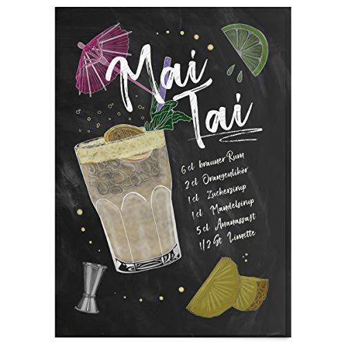 JUNIWORDS Poster mit/ohne Holzrahmen - Wähle ein Motiv - Cocktail Mai Tai - Wähle eine Größe - 21 x 30 cm (S) ohne Rahmen