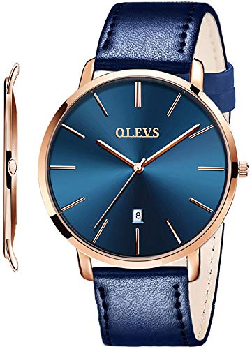 OLEVS Mens Ultra Thin Leather Watches Large Dial Navy Blue, Minimalist Slim Big Face Date Dress Quartz Watch for College Students Teens Boys Waterproof,Simple Casual Analog Wristwatch with Band Blue