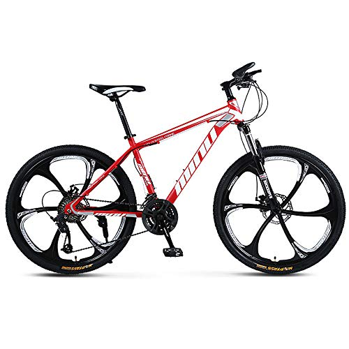 YGRSJ 26'Wheel Mountain Bike 24 velocità, Cruiser Bicycle Beach Ride Travel Sport Bianco/Rosso,Red