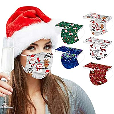 50Pcs Adults Disposable Face Mask Novelty Colorful Christmas Pinted Mixed Mouth Guards with Elastic Strap Earloop