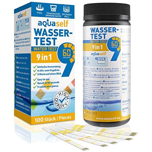 aquaself 9-in-1 Wassertest – 100 Stück Trinkwasser Teststreifen zur Überprüfung der Wasserqualität - inkl. gratis E-Book