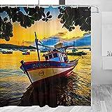 YL-00787 Brasilien Boot Duschvorhang Reise Badezimmer Dekor Set mit Haken Polyester 183 x 183 cm