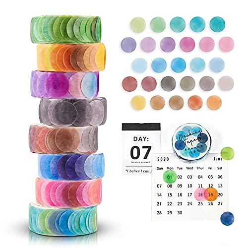 FORMIZON Washi Tape Set, 8 Rollos de Cinta Adhesiva Decorativa Washi Lunares Cintas Washi, Washi Tapes Vintage Papel, Cinta Adhesiva de Colores para Bullet Journal Scrapbooking DIY Manualidades