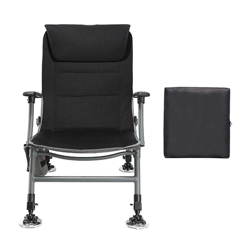 起きて安全でない素晴らしいですフィッシングチェア アウトドアチェア バックパック付き釣り椅子、伸縮性のある脚と背もたれを持つ携帯用折りたたみ屋外キャンプハイキングスツール、黒、負荷120kg