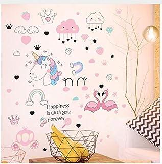 Cartoon Unicorn Flamingos Wall Stickers DIY Animal Wall Decals for Kids Room Kindergarten Girls Bedroom Decoration