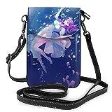 shenguang Belle fille sous-marine Anime léger petits sacs à bandoulière en cuir sacs à main pour téléphone portable pochette de voyage sac à bandoulière portefeuille avec fentes pour ca