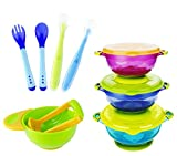 MICHEF Baby Bowls, Baby Feeding Bowls Set with Mash and Serve Bowl, 2 Hot Safe Spoon and Fork, 2...