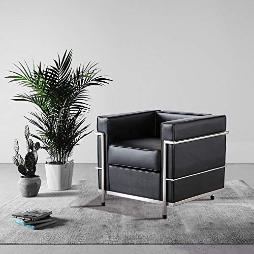 WGYDREAM Sofa Single Seat Chair Black PU Leather Leisure Couch Single Recliner Armchair PU Leather With Stainless Steel Legs