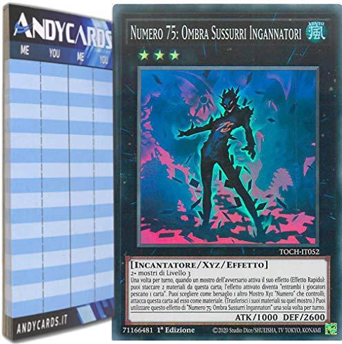 Andycards Yu-Gi-Oh! - Numero 75: Ombra SUSSURRI INGANNATORI - Super Rara TOCH-IT052 in Italiano + Segnapunti