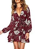 uguest Women Long Sleeve V Neck Dress Floral Mini Swing Party Wedding Dress with Belt White Flowers Wine Red S