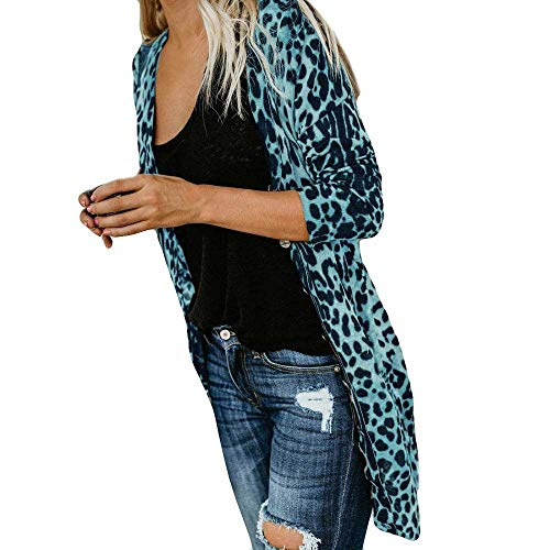 Xinantime Womens Casual Tunic Long Sleeve Leopard Print Coat Front Opening Blouse T-Shirt Loose Tank Tops Blue