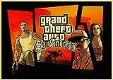 yangchunsanyue Grand Theft Auto V Game Art Retro Poster Impreso GTA 5 Cuadros De Pared para Sala De Estar Vintage Pintura De Pared Decorativa Imagen 50X70Cm No Frame (Zr-2873)