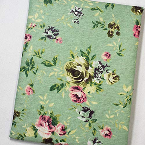 ONECHANCE Baumwoll Leinenstoff Muster zum Nähen Meterware 150cm Breit Dekostoff Bedruckt für Polster Kissenbezug Tischdecken Color Rose Blume Size 2 Meter