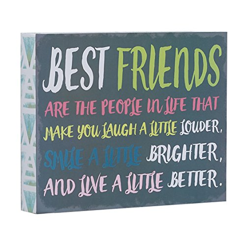 "Barnyard Designs Best Friends are The People in Life That Make You Laugh Box Wall Art Sign, Primitive Country Farmhouse Home Decor Sign with Sayings 10"" x 8"""