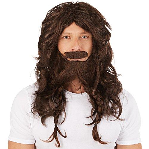 dressforfun Peluca de Vikingo Guerrero para Hombre | Incl. Genial Barba | Disfraz Perfecto para Hombres Fuertes