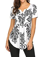 A Nice Silky Feeling Against Your Skin Gently .(M-3XL Plus Size Womens Summer Tops) Loose fit tunic Features Paisley Bohemia pattern design / Floral print pattern / Short sleeve / V neck /Button up / Pleated front/Flowy bottom hem Henley V neck can l...