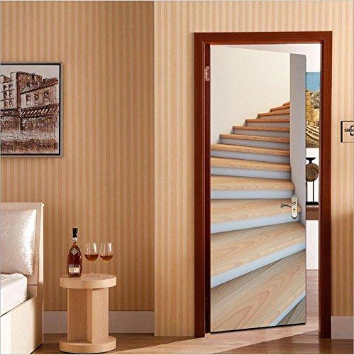 Autocollants de porte Stickers muraux DIY 3D Escaliers imperméable à l'eau Autocollants Remis à neuf Eco-friendly Papier peint en PVC Mural Art Décorations à la maison Amovible, facile à appliquer, 1