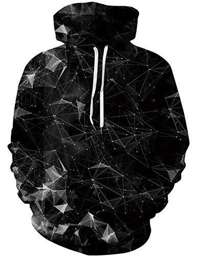 Unisex 3D Geometric Hoodies Cool Stereoscopic Geometric Printed Pullover Mit Kapuze Langarm Sweatshirt mit Känguru-Tasche Schwarz S