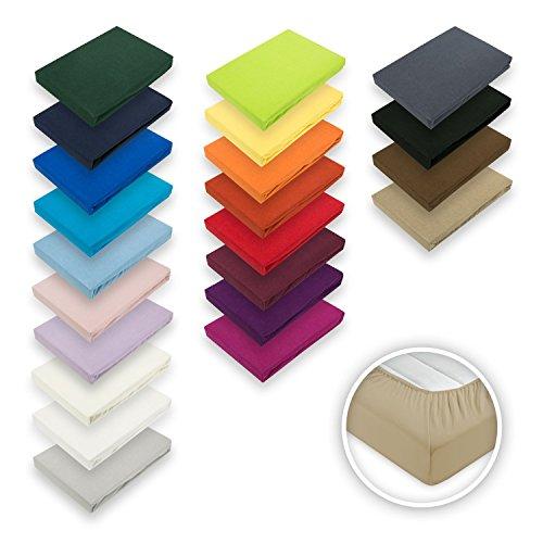 Exklusiv Heimtextil - Sábana bajera ajustable con goma elástica en todo el contorno, algodón, Blanco, 60 x 120 - 70 x 140 cm