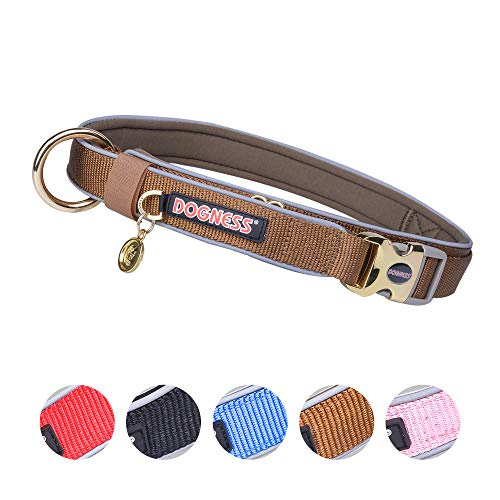 DOGNESS Classic Dog Collar, Comfort Soft Neoprene Padded Nylon, Ultra Safety Reflective Piping, 4 Sizes 5 Colors for Small Medium Large Dogs, Matching Leash Sold Separately (S/M: 12-18 inch, Brown)