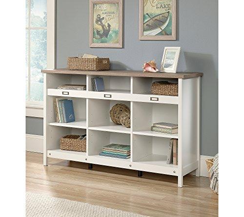 Sauder 417653 Bookcase, Storage Cabinet Adept Soft White Credenza, one Size, Craftsman Oak-White