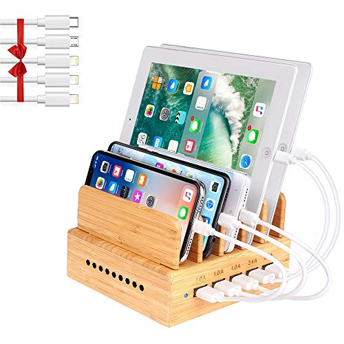 OthoKing Bamboo Charging Station, Wood Charging Station for Multiple Devices with 5 Ports USB Charger Docking Station for iPhone, iPad,Tablet, and Android Cell Phone