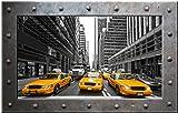 Sticker Trompe l'oeil Hublot Cadre Métal Taxi jaune New York - HUP023 (20x13cm)