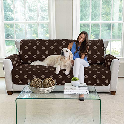 MIGHTY MONKEY Premium Reversible Large Sofa Protector for Seat Width up to 70 Inch, Furniture Slipcover, 2 Inch Strap, Couch Slip Cover Throw for Pets, Dogs, Kids, Cats, Sofa,Paw Chocolate Taupe