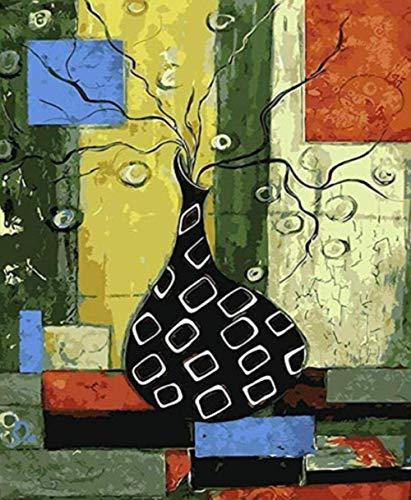 HAON Schilderen op nummer Zwart Wit Fles Olieverf vaas Afbeelding op nummer Digitale afbeelding Kleuren met de hand Uniek geschenk Room Decor 40x50cm Frameloos