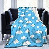 HGGZJUA Mantas Nubes Blancas del Cielo Azul Mantas De Cama De Lana Cálidas Y Esponjosas Mantas De Microfibra Sólidas Reversibles para Cama Y Sofá 80X60 Inches
