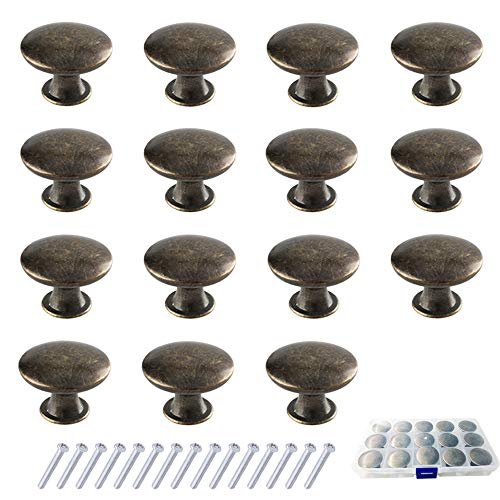 Sweieoni Pomos y Tiradores Vintage 15 Piezas Pomos de Muebles Pomos y Tiradores de Muebles Pomos Redondos para Cocina Cómoda Tiradores Armarios con Tornillos caja de Plástico (Bronce)