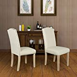Dining Chairs Set of 2 Fabric Upholstered Lounge Chair Nailed Trim Leisure Padded Solid Wood Legs Kitchen Dining Furniture(Beige Straight Leg-1)