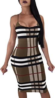 Enggras Women's Spaghetti Straps Striped Plaid Print Night Out Bodycon Club Mini Dress