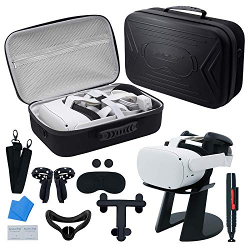 SIMPLY + Travel Case for Oculus Quest 2/Elite Head Strap/Halo Strap Carrying Case VR Gaming Headset, Hard Storage Bag for Oculus Go, Touch Controllers Accessories Quest 2 Carrying Case