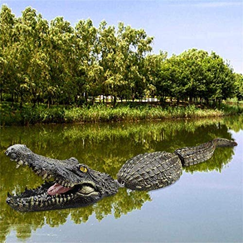 Malbaba 31.5-Inch Floating Crocodile Water Decoy, Alligator Sculpture Pond Float Outdoor Statues, Garden or Pond Art Decor for Goose Control