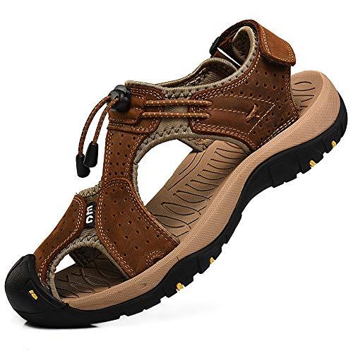 Rismart Hombre Punta Cerrado Gancho y Bucle Al Aire Libre Excursionismo Cuero Zapatos Sandalias y Chanclas SN1505(Marrón,43 EU)