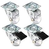 PRIOstahl ® Möbelrollen Transparent | Set | 2 Lenk, 2 Lenkrolle + Bremse | Transportrollen Ø 35mm