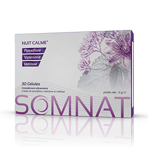 SOMNAT 30 cápsulas | Noche tranquila y calmante | Acción sinérgica de Pasiflora, Valeriana y Melisa | Producto 100% natural, sin adicción