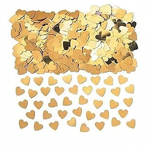 Amscan INT37009-19 - Konfetti Sparkle Hearts, gold, Folie, 14 g, Streudeko, Tischdekoration,...