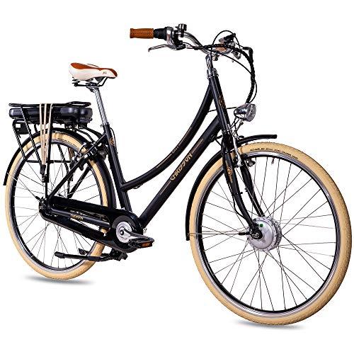 CHRISSON 28 Zoll E-Bike City Bike für Damen - EH1 schwarz mit 7 Gang Shimano Nexus Nabenschaltung - Pedelec Damen mit Bafang Vorderradmotor 250W, 36V, 45 Nm, Retro Elektrofahrrad Damen
