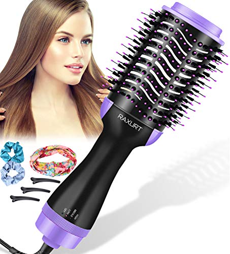 Hair Dryer Brush,One-Step Hair Dryer Brush and Volumizer with ION Generator, Anti-Frizz Hair Dryer Brush, Hot Air Brush Styler Brush Hair Dryers for Women,with 3pcs Hair Clips, 3pcs Hair Ties (Purple)