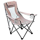 Folding Beach Chair Sling High Mesh Back Reclining Camping Chair with Headrest Carry Strap for...