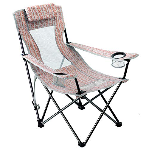 Folding Beach Chair Sling High Mesh Back Reclining Camping Chair with Headrest Carry Strap for Outdoor Concert Sport Events Pink