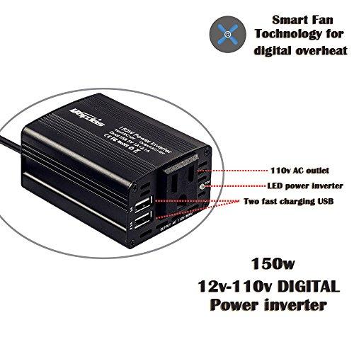 Bapdas 150W Car Power Inverter DC 12V to 110V AC Car Converter with 3.1A Dual USB Car Adapter-Black