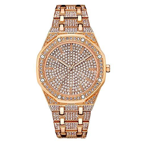 THj Unisex Hip Hop Iced Out Herren Gold/Silber Full Diamond Armbanduhr für Damen/Herren
