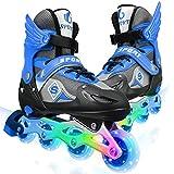 Kids Inline Skates with Illuminating Light Up Wheels,Inline Roller Skates Adjustable with ABEC 7 carbon bearing,Roller Blades for Boys Girls Beginners Children Teens Adults (Blue UK 10C-13.5C)